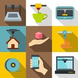 Industrial 3d printer icons set, flat style Royalty Free Stock Photo