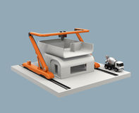 Industrial 3D printer printing house model. Royalty Free Stock Photos