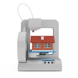 Industrial 3D printer Prints a House Building. 3d Rendering Royalty Free Stock Photography