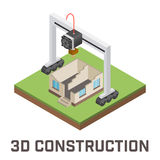 Industrial 3D printer prints a house concept. Stock Images