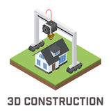 Industrial 3D printer prints a house concept. Royalty Free Stock Photography