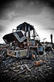 Industrial decay 2. A forklift being the subject for a massive fire Stock Image