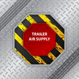 Industrial design with tire track and trailer air supply knob Stock Images
