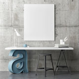 Industrial design working space, mock up poster Royalty Free Stock Images