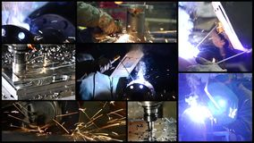 Industrial details. Collage including milling machines and people at work. stock footage