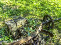 Industrial Devolution. Nature claiming back its own. An old gear wheel being overgrown Stock Photo
