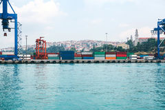 Industrial dock with loading and unloading of sea transport on the Bosporus in Istanbul, Turkey. Transportation, storage Stock Images