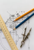 Industrial drawing and tools Stock Image
