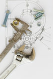 Industrial drawing and tools Stock Images