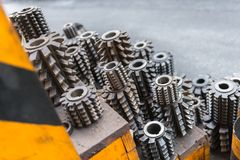 Industrial drill bits stacked up Royalty Free Stock Images