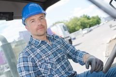 Industrial driver at work royalty free stock photo