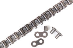 Industrial driving roller chain. Isolated on white background Stock Image