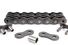 Industrial driving roller chain. Isolated on white background Royalty Free Stock Photo