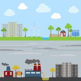 Industrial and eco city concept Royalty Free Stock Photos
