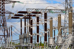 Industrial electric equipment. Sale and electricity generation. Stock Photos