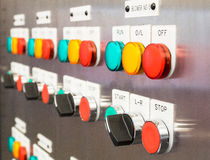Industrial, electric switch panel Stock Images