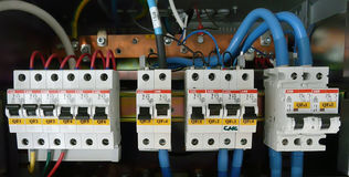 Industrial electrical component. Control panel with circuit-breakers (fuse stock photos