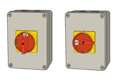 Industrial electrical rotary switch, on and off. Industrial electrical rotary power switch, drawn in on and off positions Stock Photo
