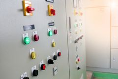 Industrial electrical switch panel at substation of water treatment plant.  stock photos