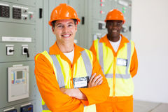 Industrial electrician colleague Stock Image