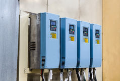 Industrial electricity inverters in a factory Stock Photos