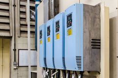 Industrial electricity inverters in a factory Royalty Free Stock Photo