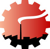 Industrial emblem. Factory silhouette drawing in a gear shape gradient Royalty Free Stock Photos