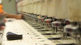 Industrial embroidery and sewing machine stock video footage