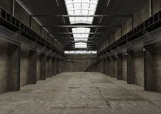 Industrial empty space, vintage old interior design royalty free illustration