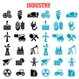 Industrial and energy flat icons set Royalty Free Stock Photography