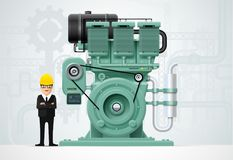 Industrial engine machinery factory engineering construction equ. Ipment vector illustration Royalty Free Stock Photos