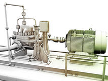 Industrial engine and power generator. Design of industrial engine and power generator with wireframe on top Royalty Free Stock Photography