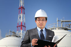 Industrial engineer. Chemical plant on location site Stock Image