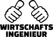 Industrial engineer thumbs german. Industrial engineer thumbs with german job title Stock Photography