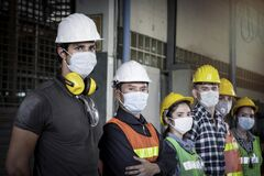 Free Industrial Engineer Worker Women And Men Wearing Helmet And Mask In Line Waiting To Work Together At Manufacturing Plant Factory, Royalty Free Stock Image - 206409436