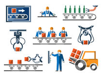 Industrial and engineering icons set in flat Royalty Free Stock Photography