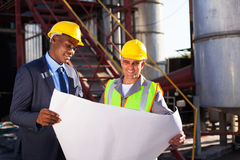 Industrial engineers blueprint Stock Image