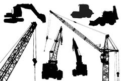 Industrial equipment. Silhouettes of industrial equipment like machinery's and cranes Royalty Free Stock Images