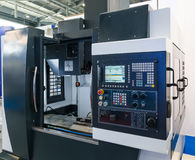 Industrial equipment of cnc milling machine center in tool manufacture workshop Stock Photo