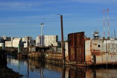 Industrial Equipment on the Duwamish Waterway. In Seattle, WA Stock Photos