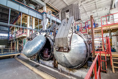Industrial equipment at the factory in large  production hall Royalty Free Stock Image