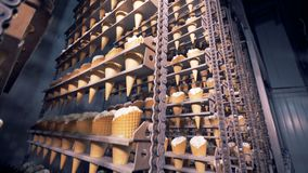 Industrial equipment with ice-cream wafer cones are moving in opposite direction. Multiple chained tracks with ice-cream wafer cones are moving in opposite stock footage