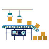 Industrial equipment for packaging boxes, machinery line assembly conveyor Royalty Free Stock Photo