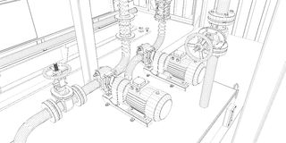 Industrial equipment. Wire-frame 3d render Stock Photography