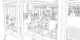 Industrial equipment. Wire-frame 3d render Royalty Free Stock Photo