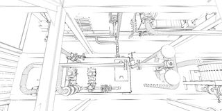 Industrial equipment. Wire-frame 3d render Royalty Free Stock Image