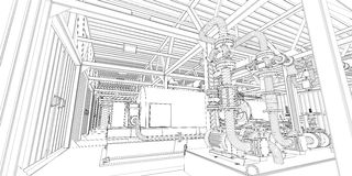 Industrial equipment. Wire-frame 3d render Stock Photos