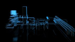 Industrial equipment. Wire-frame. Digital technology x-ray visualization 3d rendering stock illustration