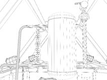 Industrial equipment. Wire-frame render Royalty Free Stock Images