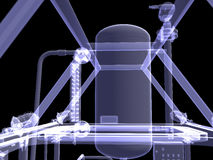 Industrial equipment. X-Ray render Royalty Free Stock Photography